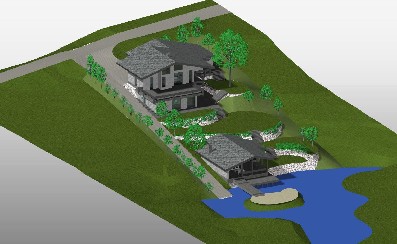 Дизайн дома на участке с уклоном